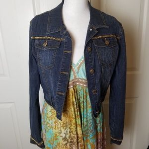 RVT Cropped Dark Denim Jacket Gold Chain Embellish